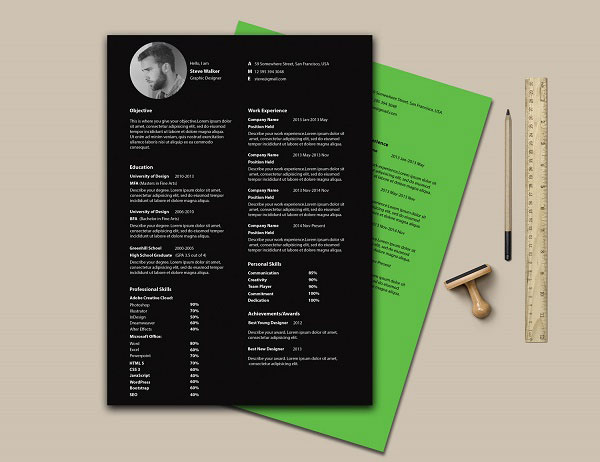 Free-Black-Simple-CV-template
