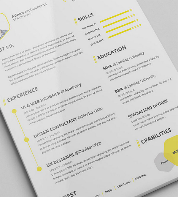 50 beautiful free resume cv templates in ai indesign psd formats - Professional Cv Template