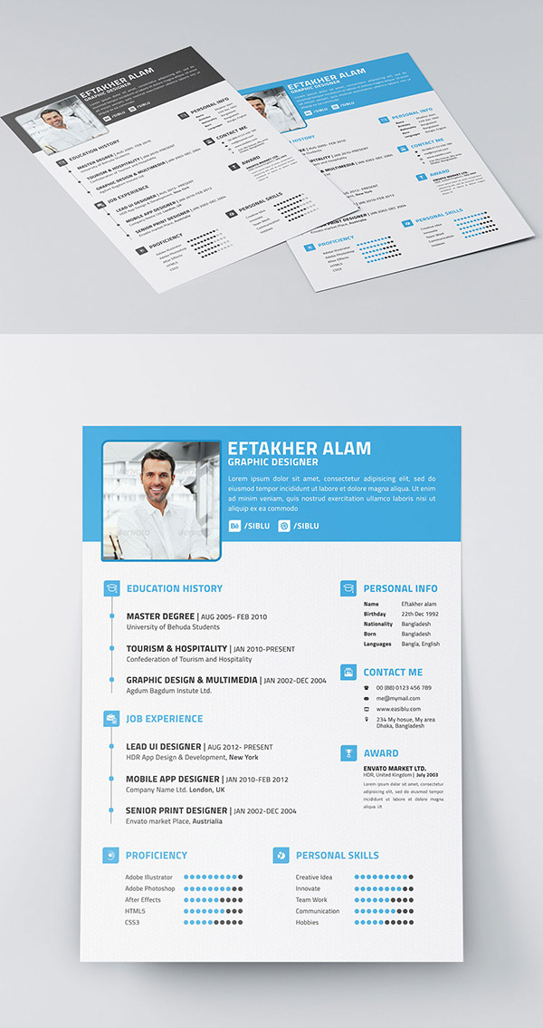 Beautiful Free Resume CV Templates In Ai Indesign PSD Formats - Adobe indesign business card template