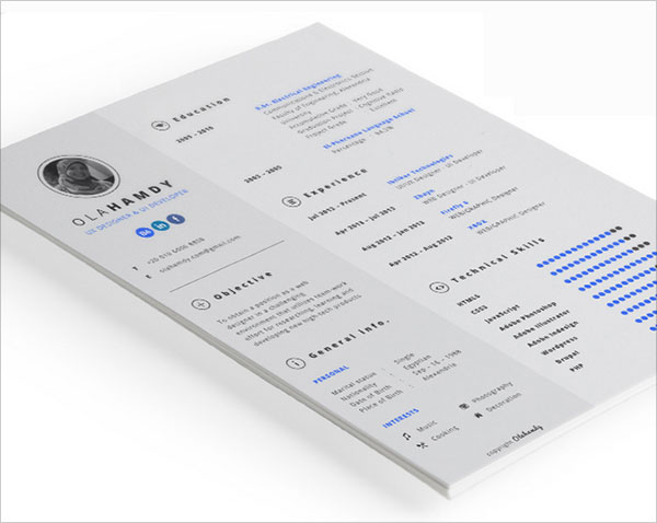 Bevorzugt 50+ Beautiful Free Resume (CV) Templates in Ai, Indesign & PSD Formats CU05