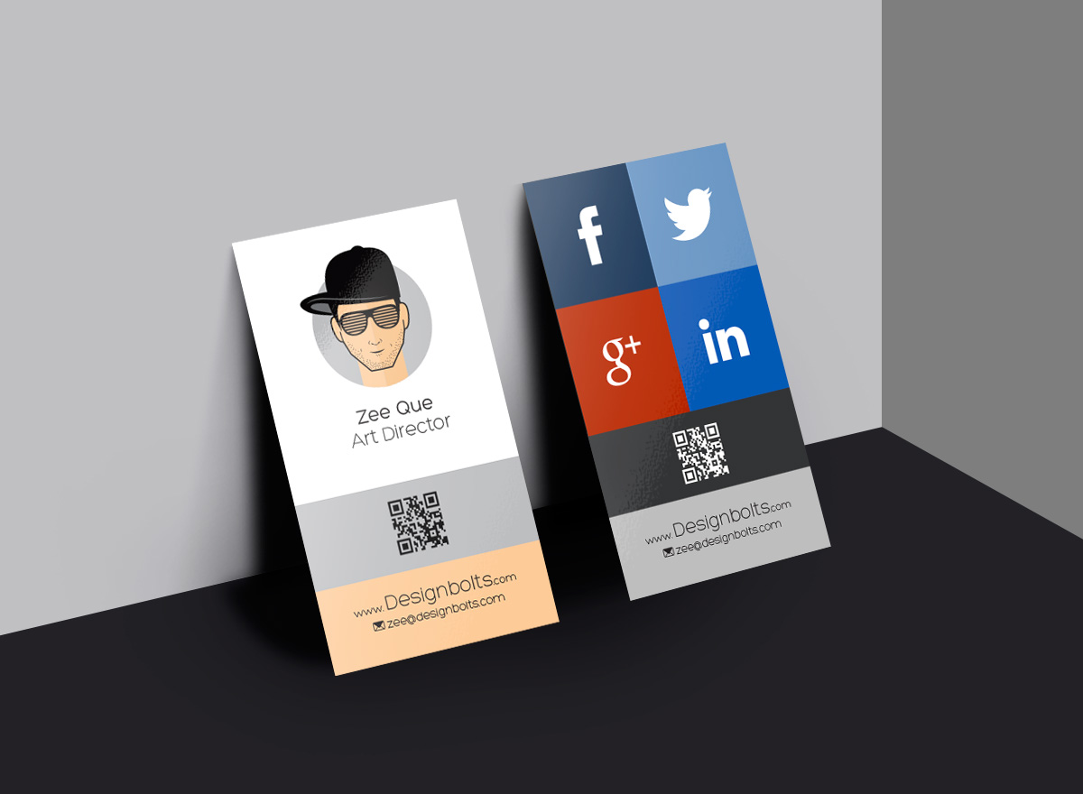 Free Vertical Business Card Design Template & Mock-up PSD File For ...