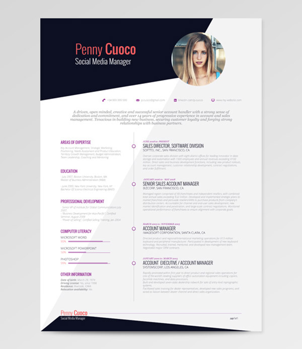 Free Resume Template  Resume Templates Indesign