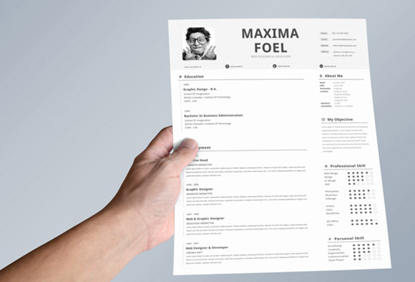 50 beautiful free resume cv templates in ai indesign psd formats - Simple resume design ...