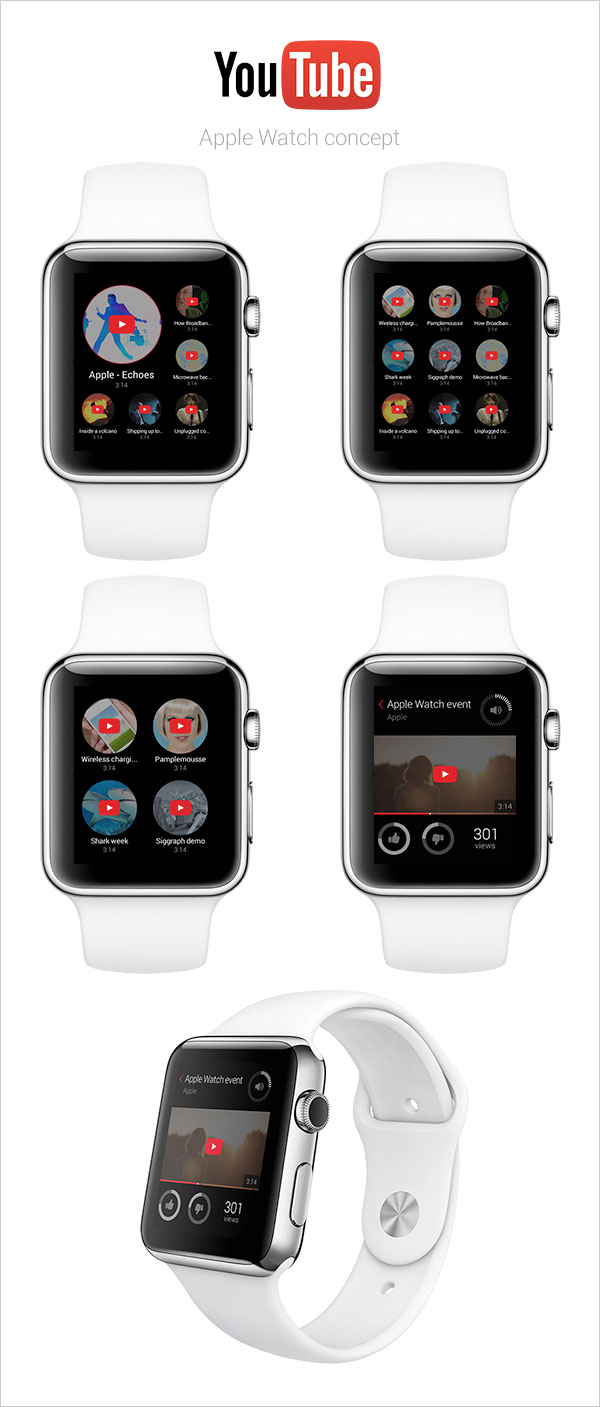 29 youtube app concept for apple watch - Ui Design Ideas