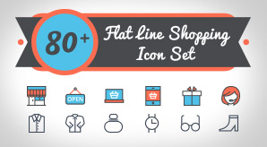 Free-flat-line-shopping-icon-set
