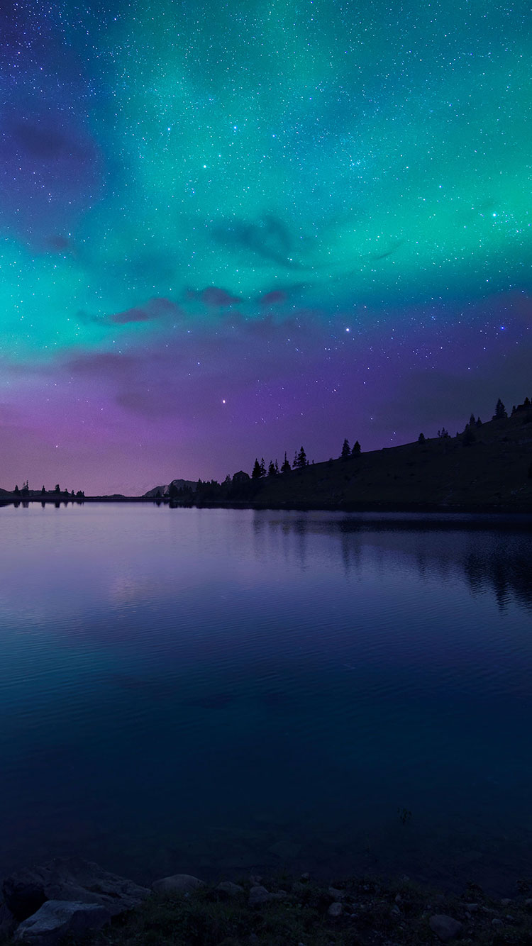 Nightfallatlakeaurora Nature Iphone 6 Wallpaper