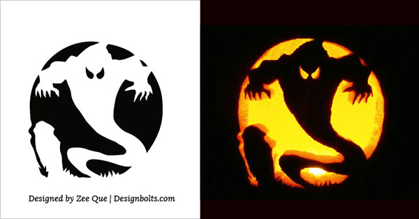 Scary Ghost Pumpkin Carving Stencil 2015