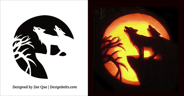 wolf free pumpkin carving stencil 2015 - Free Scary Halloween Pumpkin Carving Patterns