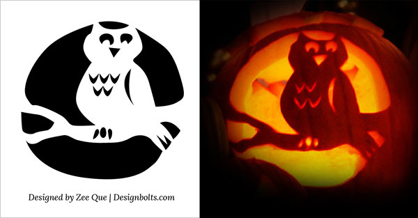 12 owl pumpkin carving stencils patterns ideas 2015 - Free Scary Halloween Pumpkin Carving Patterns