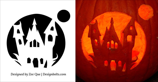 13-Haunted-House-Pumpkin-Carving-patterns-ideas-2015