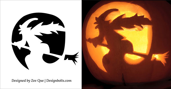 8-Witch-Scary-Pumpkin-Carving-Stencils-patterns-ideas-2015