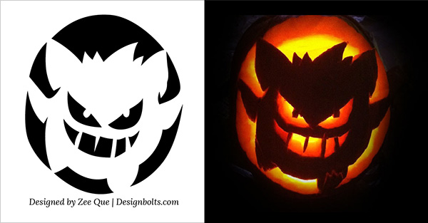 free printable pumpkin carving stencil - Free Scary Halloween Pumpkin Carving Patterns