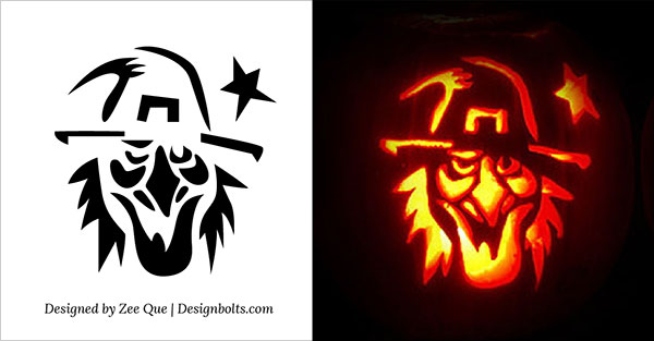 15 free printable scary halloween pumpkin carving stencils for Witch carving pattern for pumpkins
