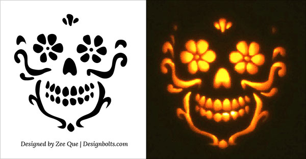 Free-Beautiful-Skull-Pumpkin-Carving-Stencil-2015