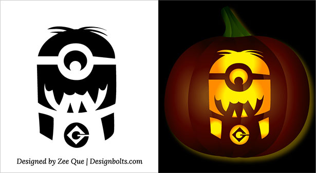 free printable scary halloween minion pumpkin carving ideas 2015 - Free Scary Halloween Pumpkin Carving Patterns