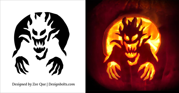 free scary pumpkin carving stencils templates patterns ideas - Free Scary Halloween Pumpkin Carving Patterns