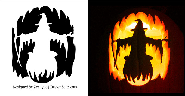 Free halloween scary pumpkin carving stencils patterns for Witch carving pattern for pumpkins