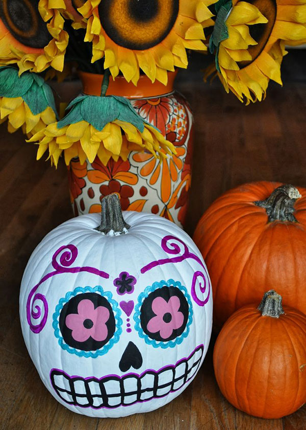 sugar skull pumpkin for halloween 2015 decoration - Decorated Halloween Pumpkins