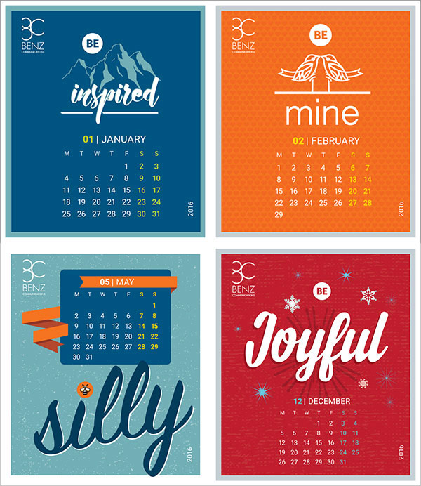 Calendar Typography Xp : Best new year wall desk calendar designs for