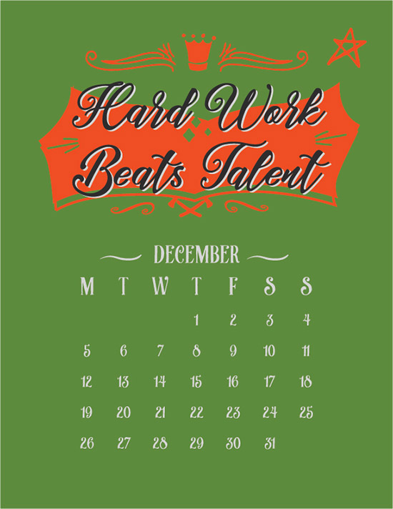 Inspirational Typography Wall Calendar 2016 Printable PDF Ai amp EPS