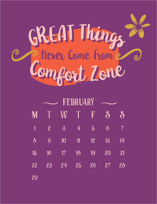 free vector inspirational typography wall calendar 2016