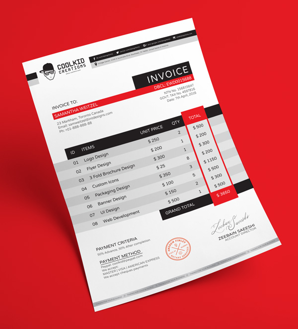 free professional business invoice design template in ai eps format