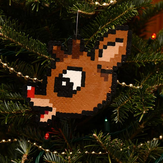 8 Bit Pixel Art Cute Christmas Ornaments Tree