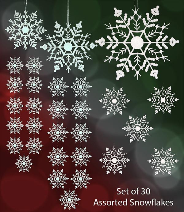 Set-of-30-Assorted-Snowflake-Christmas-Ornaments