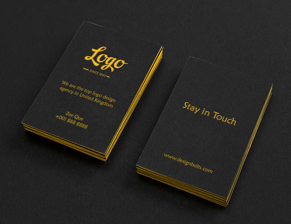 free black vertical business card mock