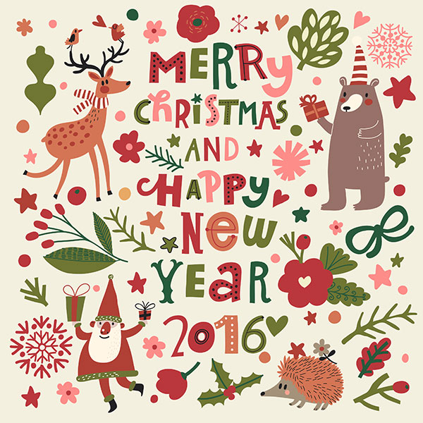 cute happy new year card design 2016 01