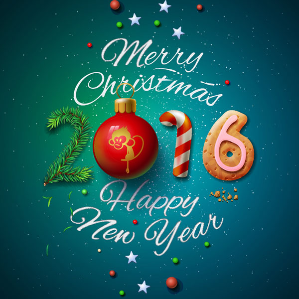 happy new year 2016 merry christmas card design