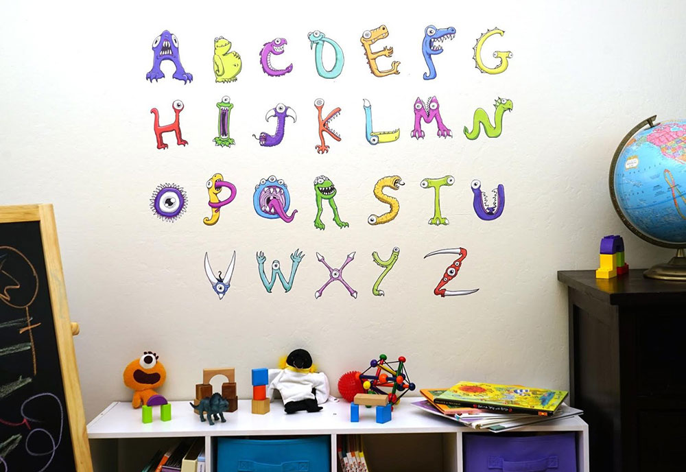 Nice ABC Moster Wall Stickers For Kids