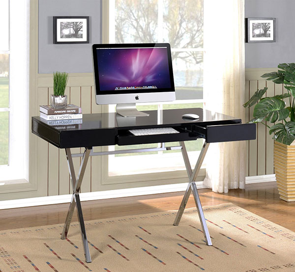 Chrome-Finish-Legs-Home-Computer-Desk-for-Graphic-Designers-Black