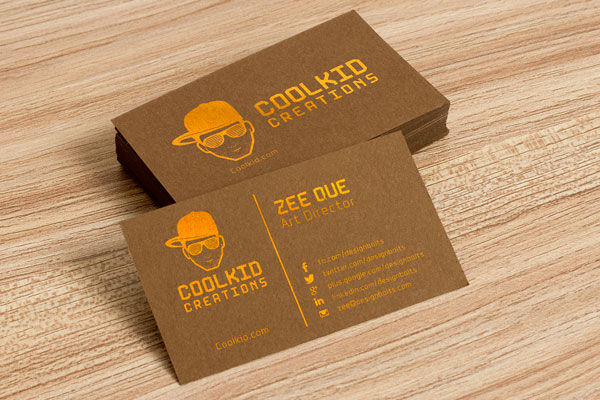 Free brown business card design template mockup psd for Business card presentation template psd