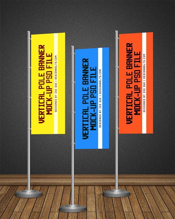 free pos vertical flag    pole banner mock