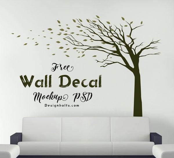 Free-Vinyl-Sticker-Wall-Decal-Mockup-PSD