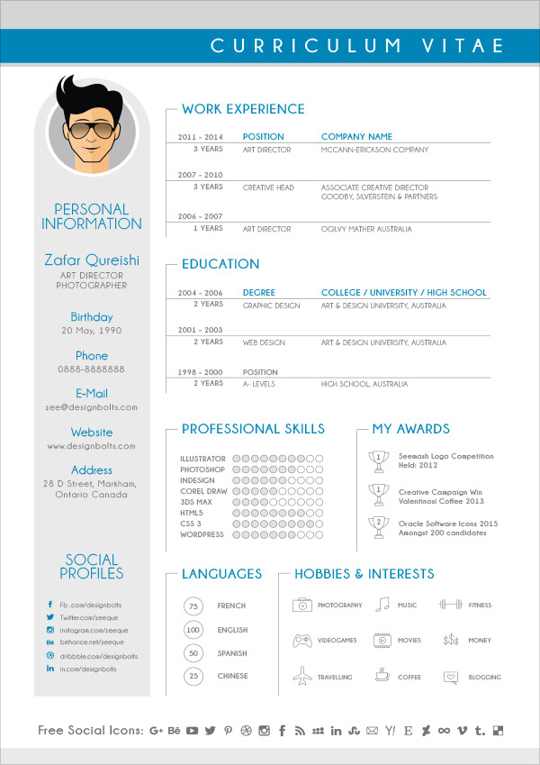 Free CV Resume Design Template For Graphic Designers