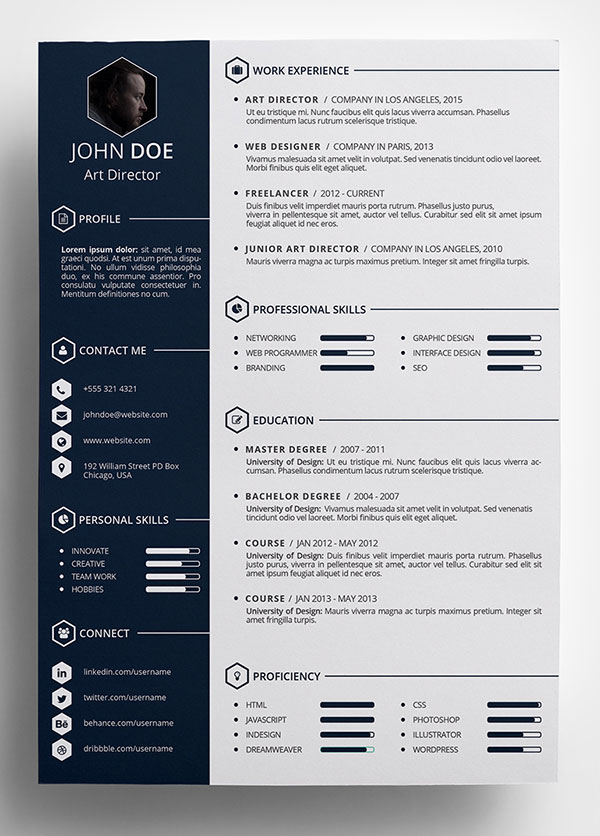 10 Best Free Resume (Cv) Templates In Ai, Indesign, Word & Psd Formats