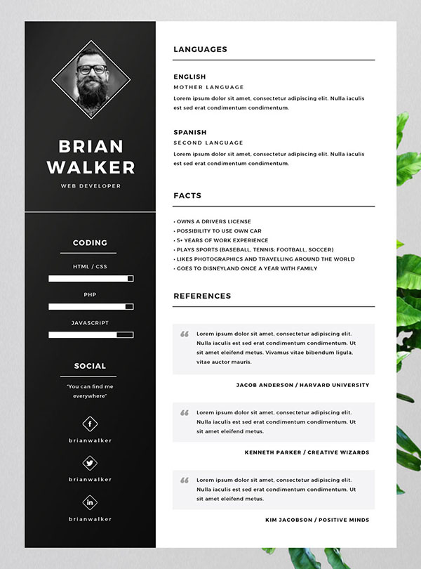 Free Resume CV Templates For Word, Photoshop U0026 Illustrator