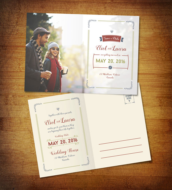 Free Save The Date PreWedding Post Card Design Template - Save the date templates online