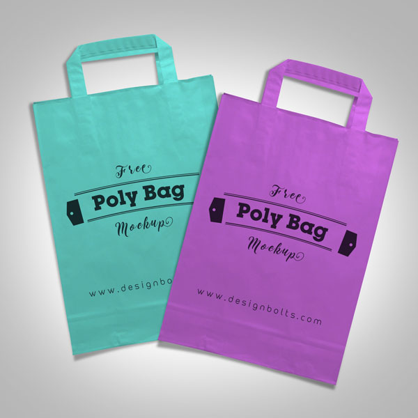 Free White-Plastic Polly Shopping Bag Mock-up PSD