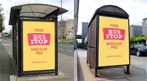 2-Free-HQ-Outdoor-Advertising-Bus-Shelter-Mock-up-PSD-Files