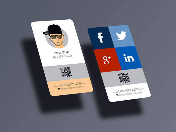 free rounded corner vertical business card mock