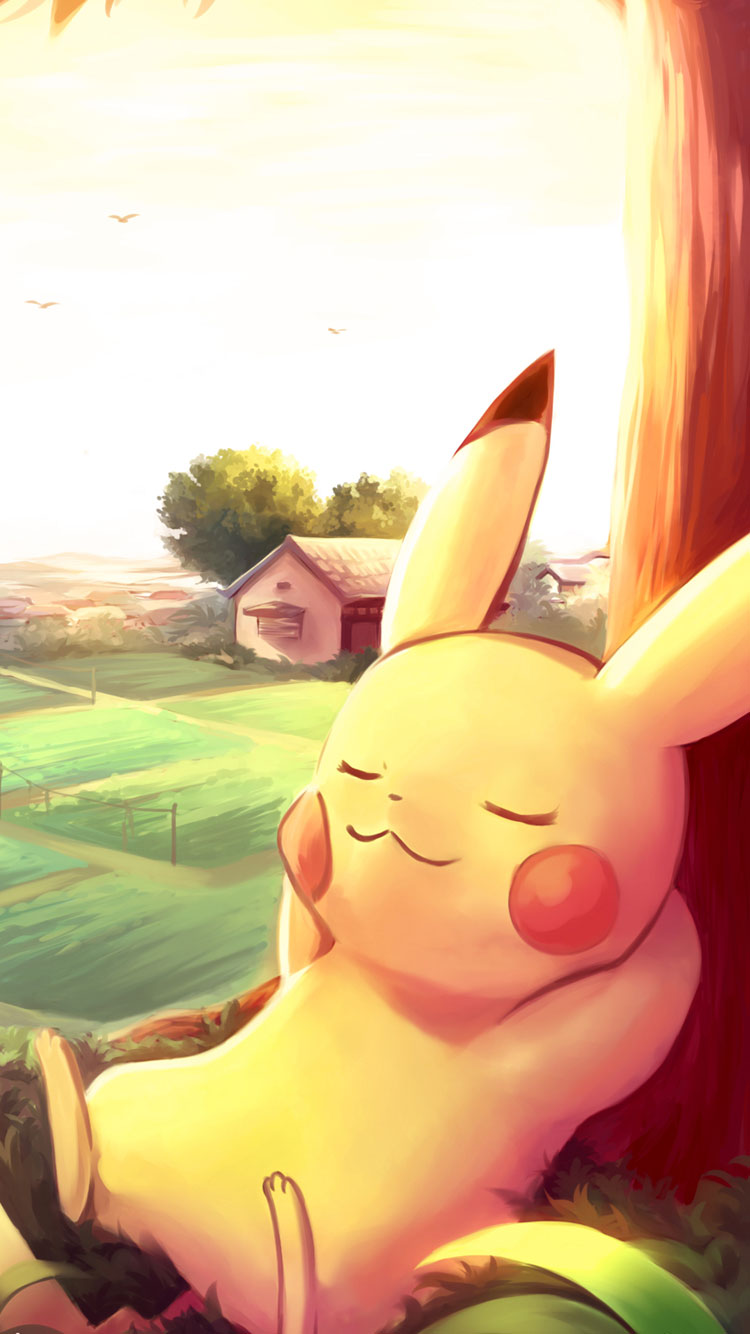 Pikachu-sleeping-iPhone-6-Wallpaper