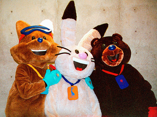 2002-Salt-Lake-City-Olympic-Mascots,-Powder-the-snowshoe-hare,-Copper-the-coyote-and-Coal-the-American-black-bear-2