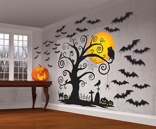 halloween spooky cemetery giant wall decorations 2 - Cemetery Halloween Decorations