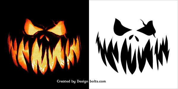 Free scary halloween pumpkin carving patterns stencils