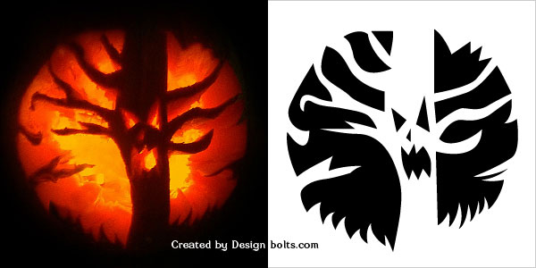 Scary Halloween Tree Pumpkin Carving Pattern 2016
