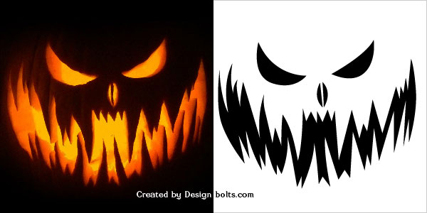 scary pumpkin face stencil - Free Scary Halloween Pumpkin Carving Patterns