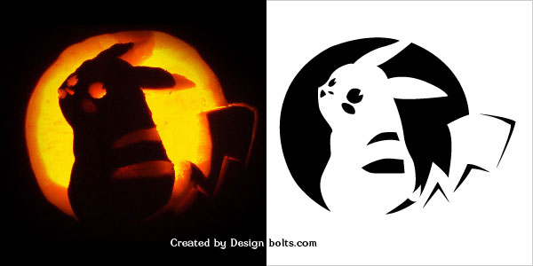 Pokemon Pumpkin Pikachu Carving Stencil 2016